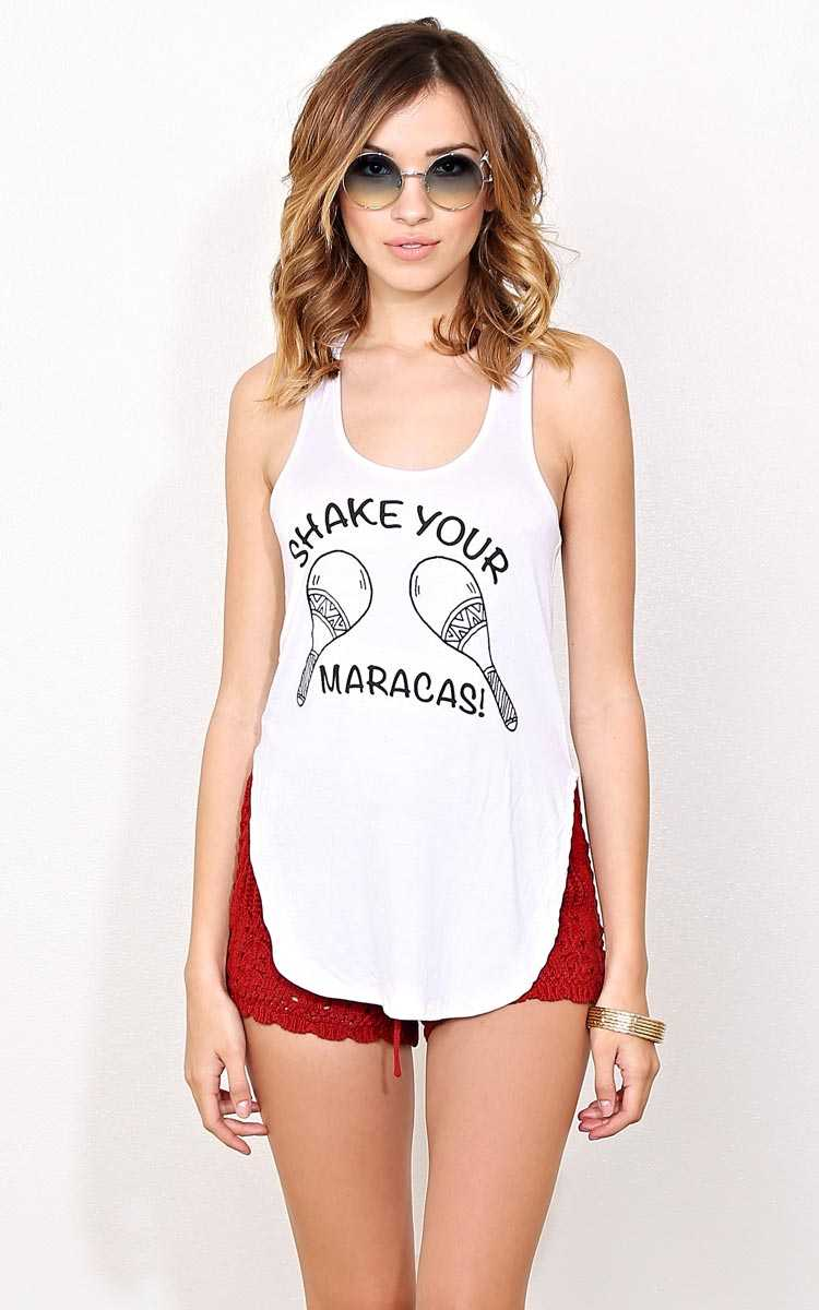 SHAKE YOUR MARACAS! Tank - - White in Size by Styles For Less