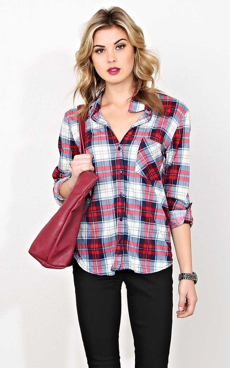 Never Leaving Knit Plaid Top - LGE - Navy Combo in Size Large by Styles For Less