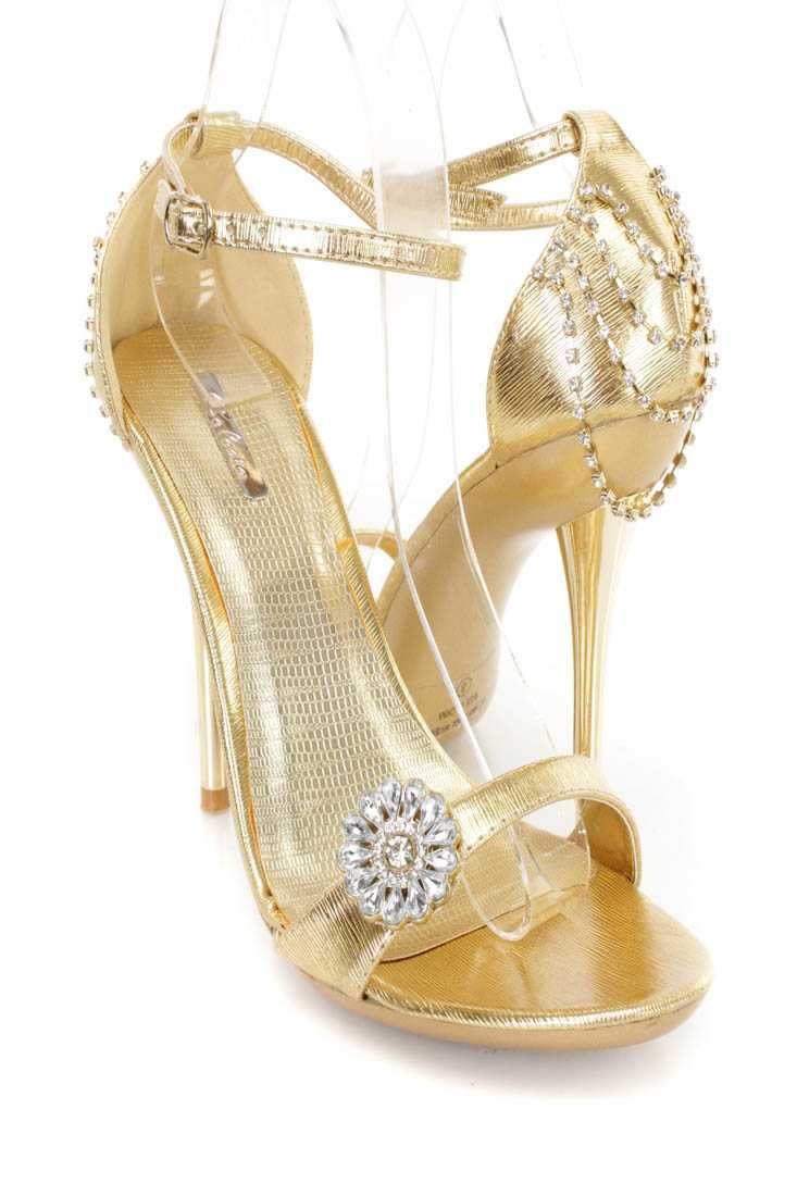 Gold Rhinestone Draped Single Sole Heels Faux Leather