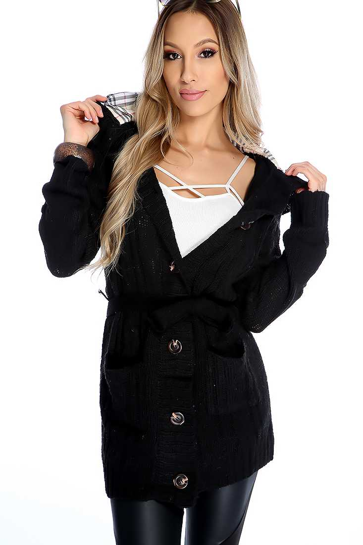 Stylish Black Long Sleeve Button Up Sweater