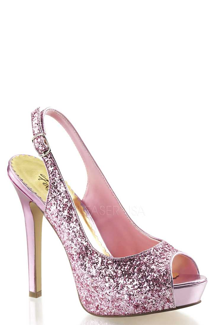 Baby Pink Peep Toe Sling Back Pump High Heels Glitter