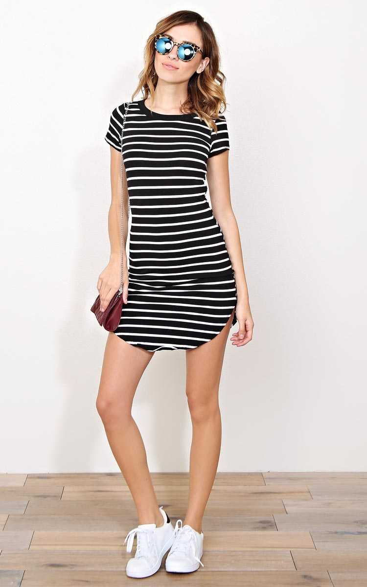 Finn Striped T Shirt Dress - LGE - in Size Large by Styles For Less