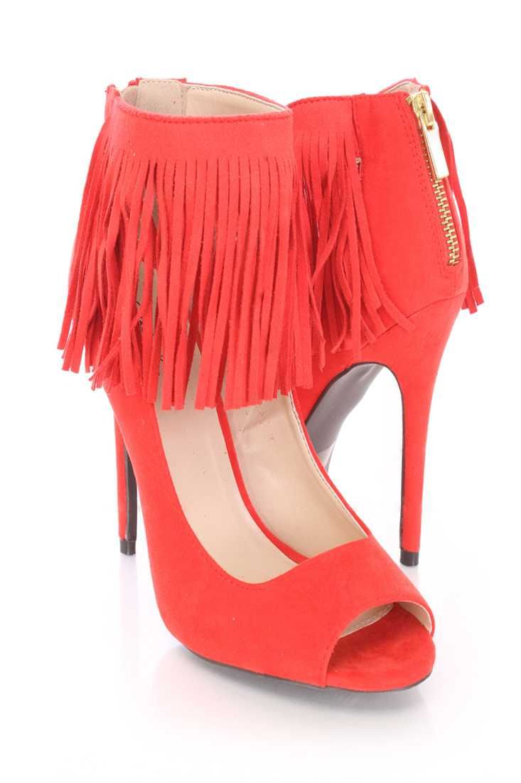Tangerine Fringe Peep Toe Single Sole High Heels Faux Suede