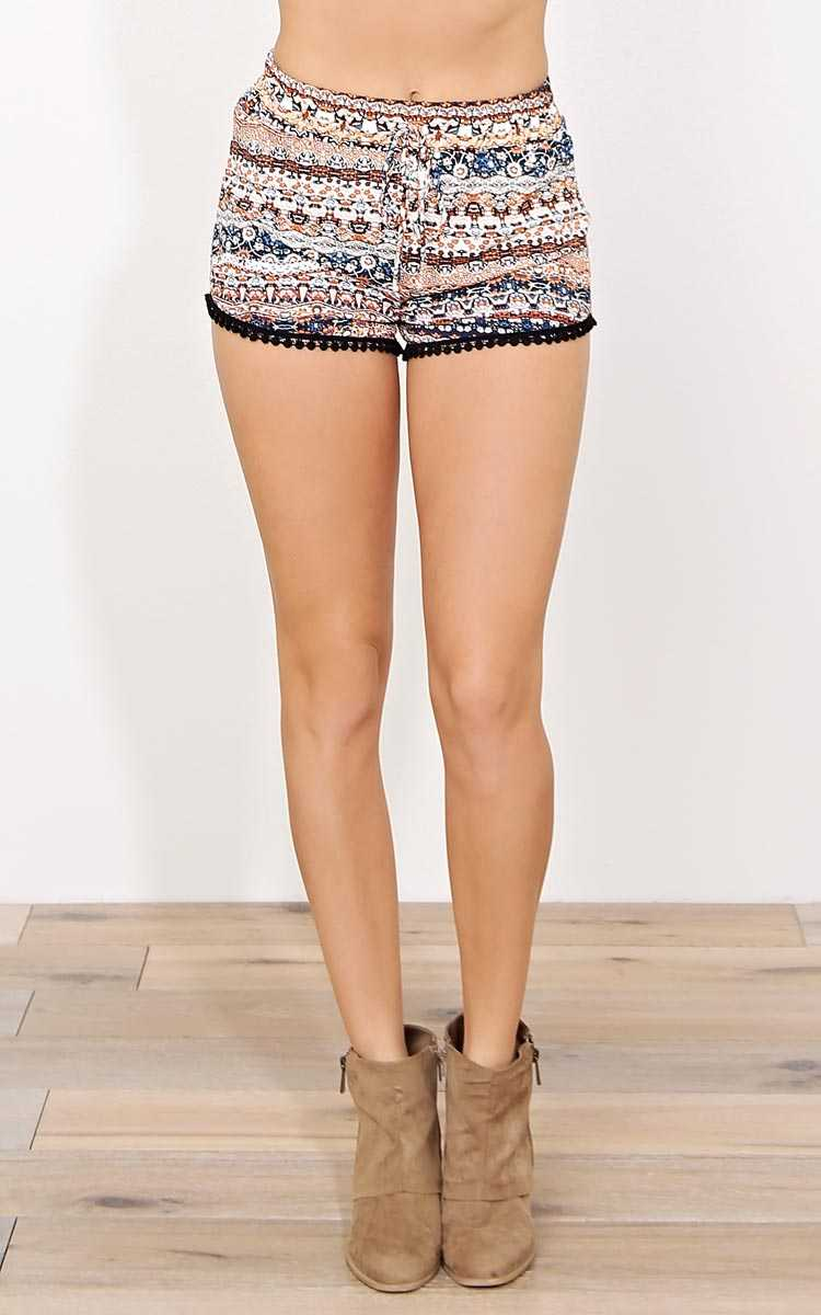 Band of Gypsies Woven Shorts - - Navy Combo in Size by Styles For Less