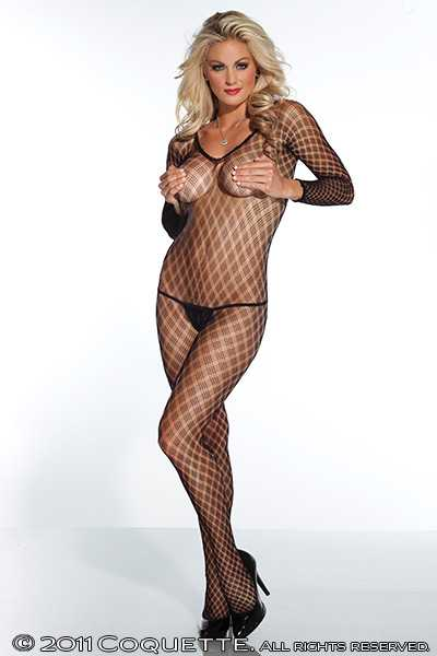 Black Sheer Fence Net Long Sleeves Body Stocking