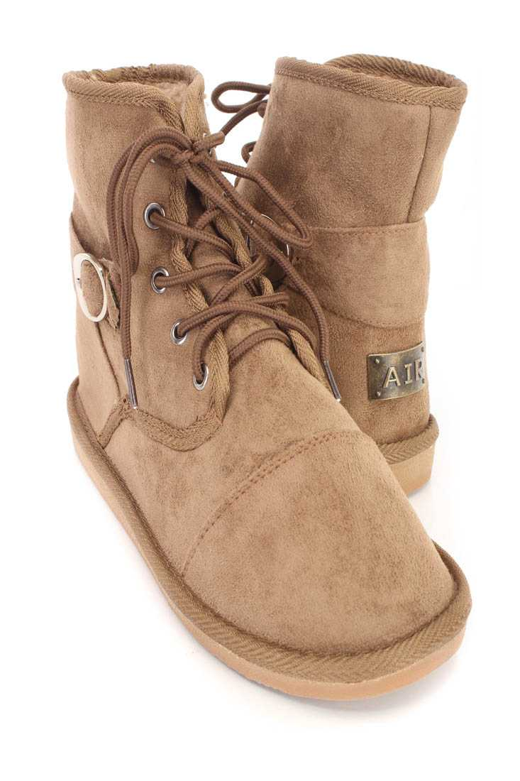 Chestnut Lace Up Comfy Ankle Booties Faux Suede