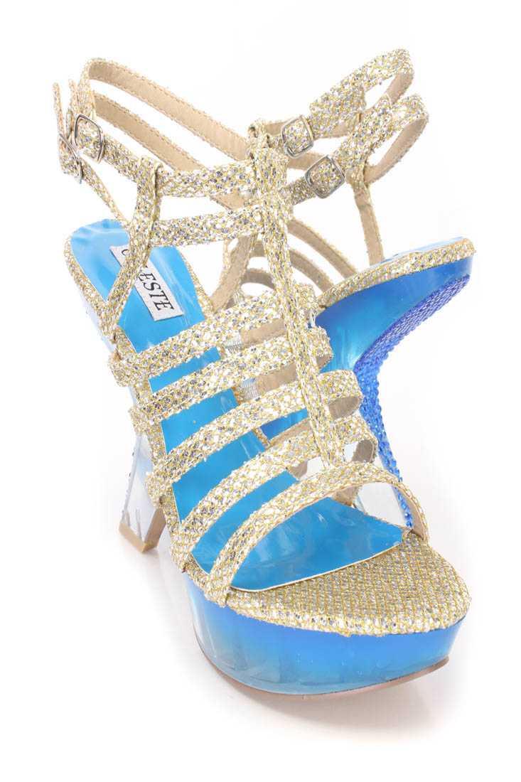 Silver Strappy Platform Curved Heels Glitter