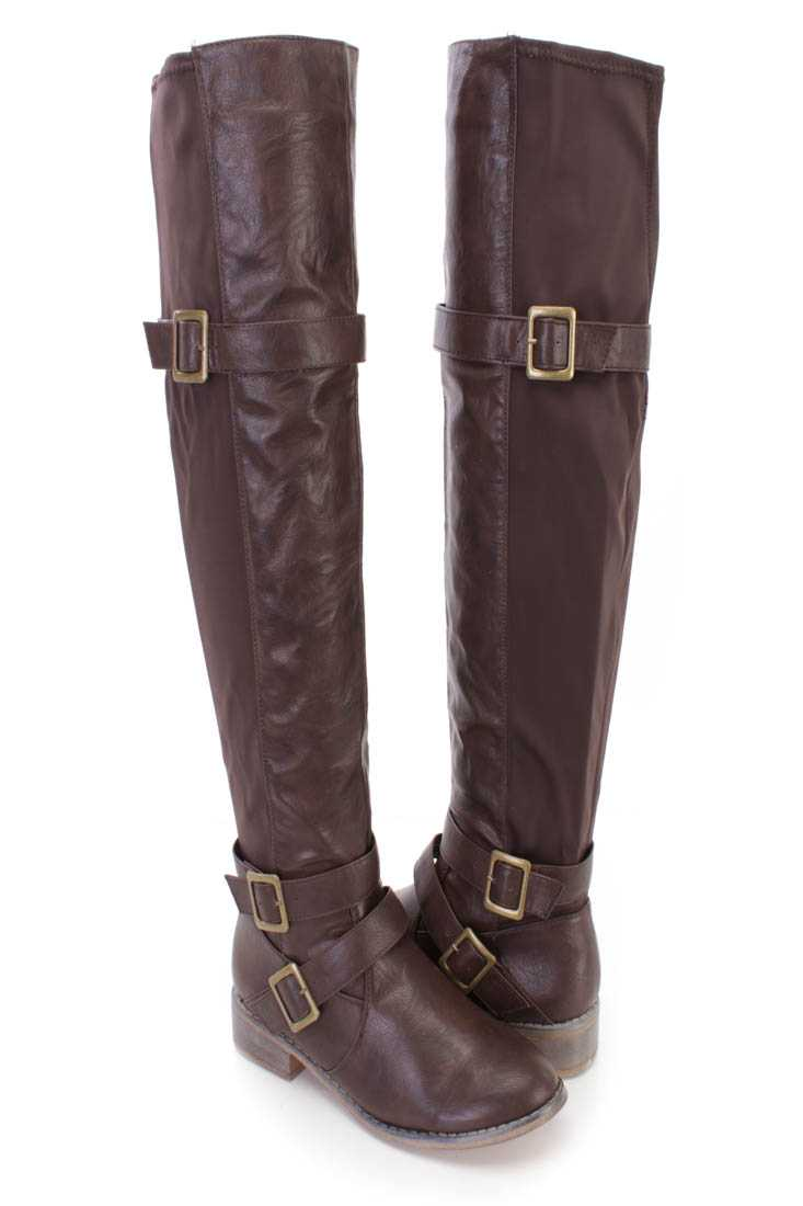 Brown Strappy Thigh High Riding Boots Faux Leather