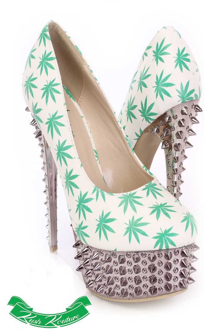 White Green Herbal Leaf Pump High Heels Faux Leather