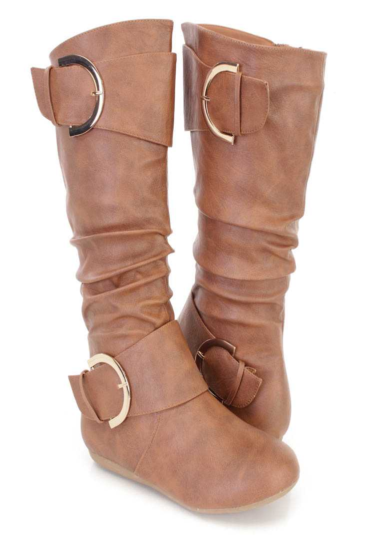 Tan Slouchy Buckle Accent Flat Boots Faux Leather