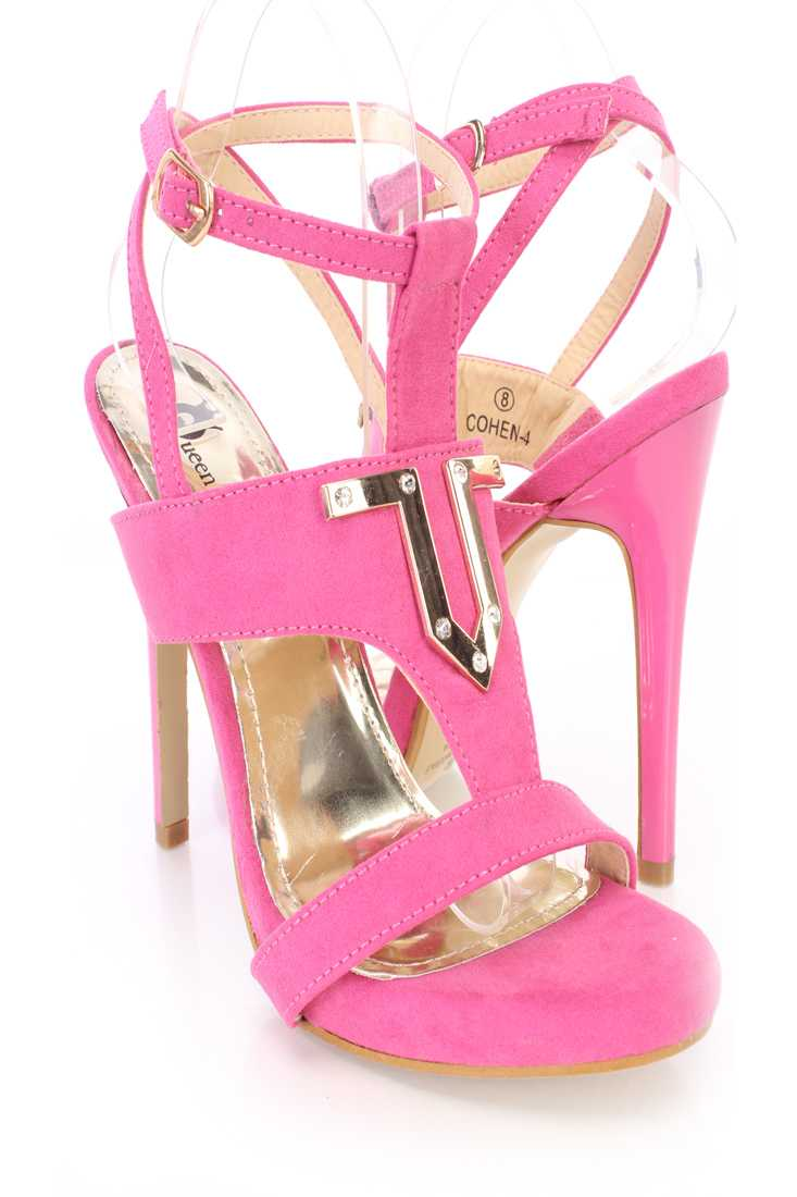 Fuchsia Wrap Around Strap Open Toe High Heels Faux Suede