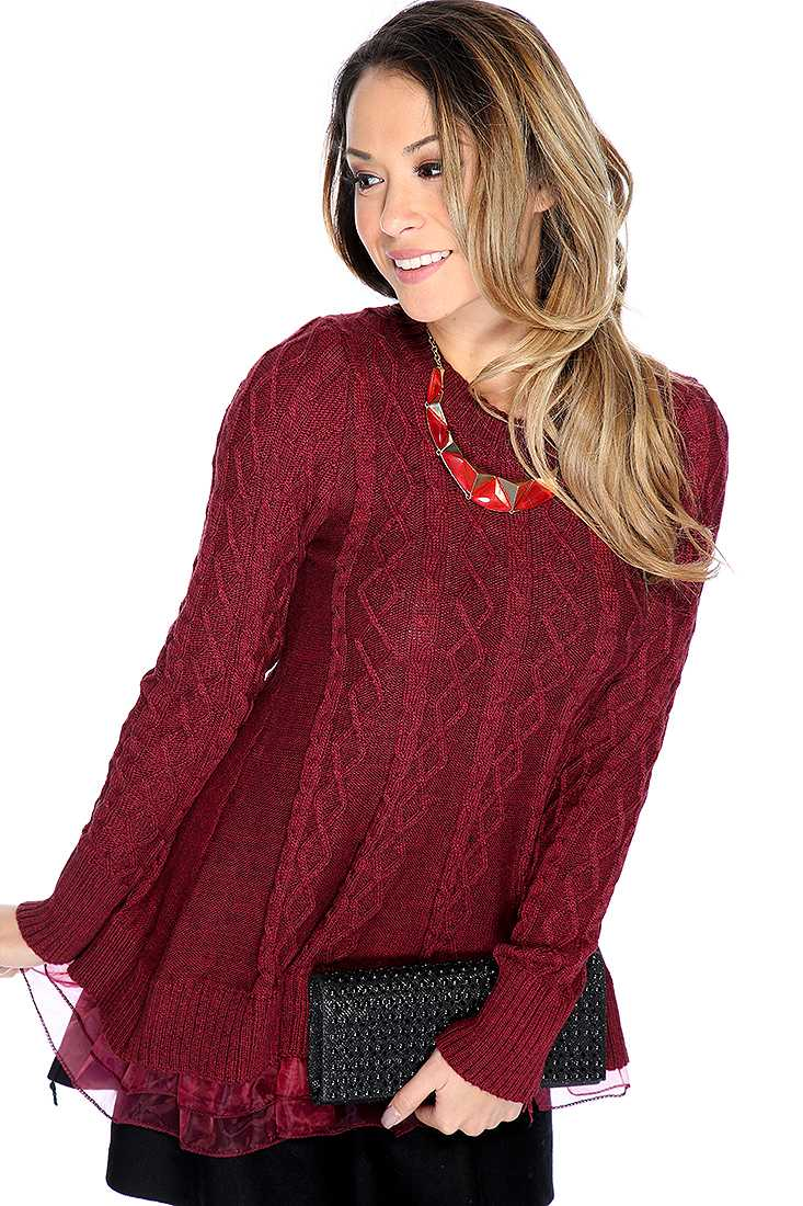 Wine Green Long Sleeve Cable Knit Lace Hem Sweater Top