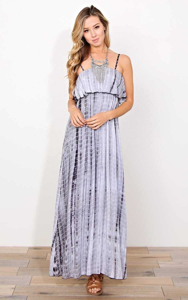 Star Dancer Tie Dye Maxi Dress - SML - Charcoal Combo in Size Small by Styles For Less