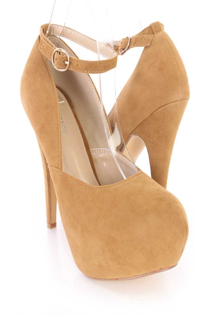 Tan Ankle Strap Heels Faux Suede