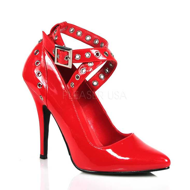 Red Grommet Strappy Single Sole High Heels Patent