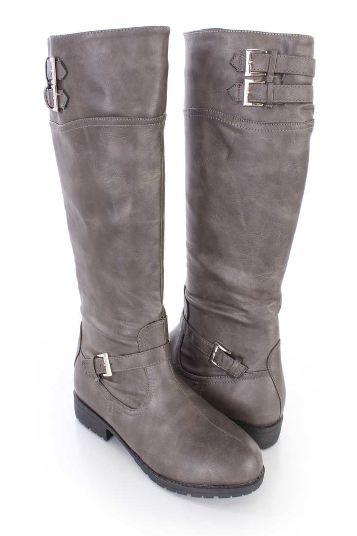 Grey Mid Calf Riding Boots Faux Leather