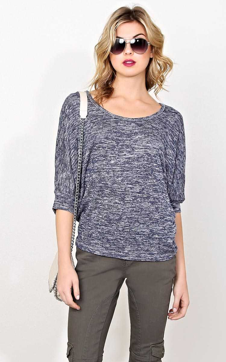 Navy Marled Slub Knit Dolman - - Navy in Size by Styles For Less