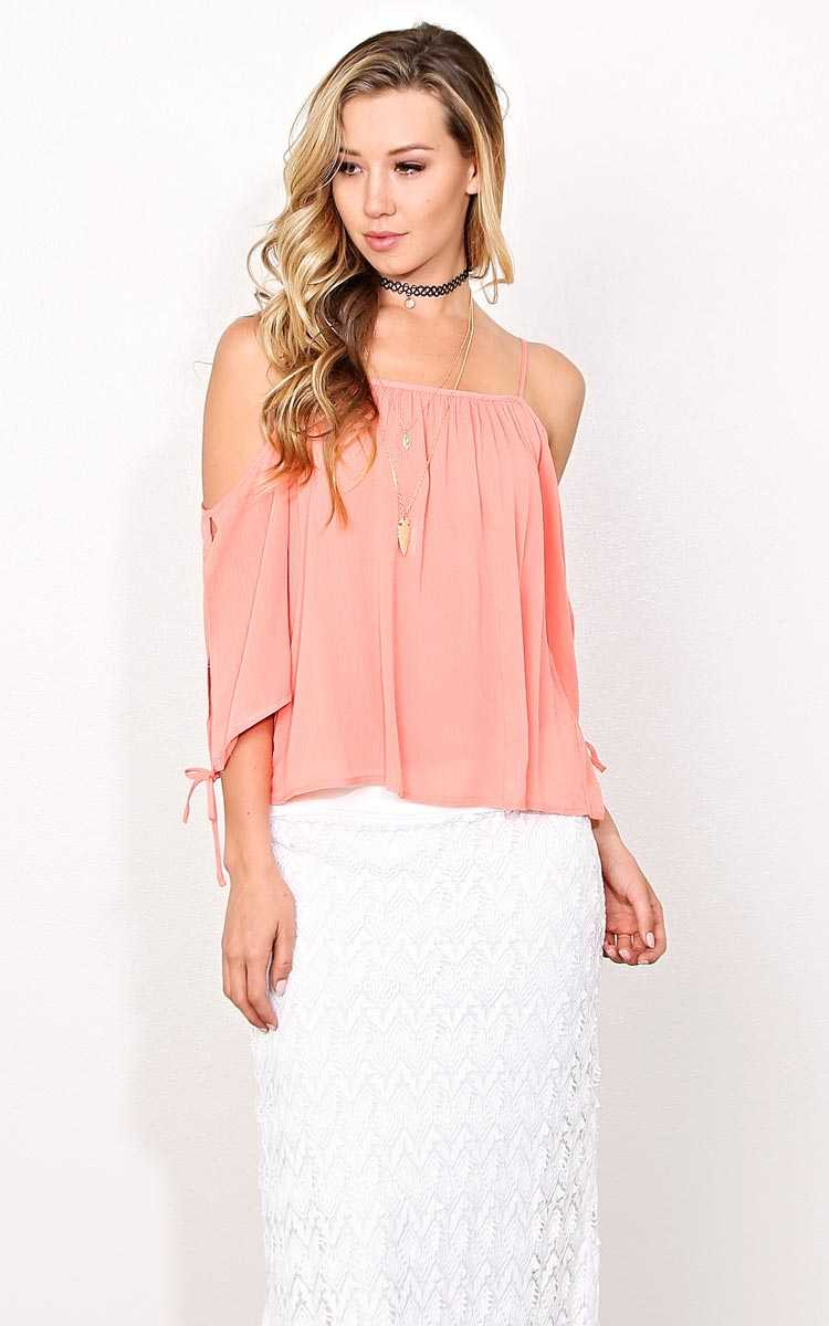 Mila Woven Gauze Top - LGE - Coral in Size Large by Styles For Less