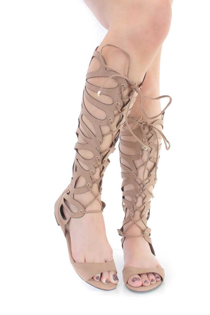 Natural Cut Out Lace Up Gladiator Sandals Faux Suede
