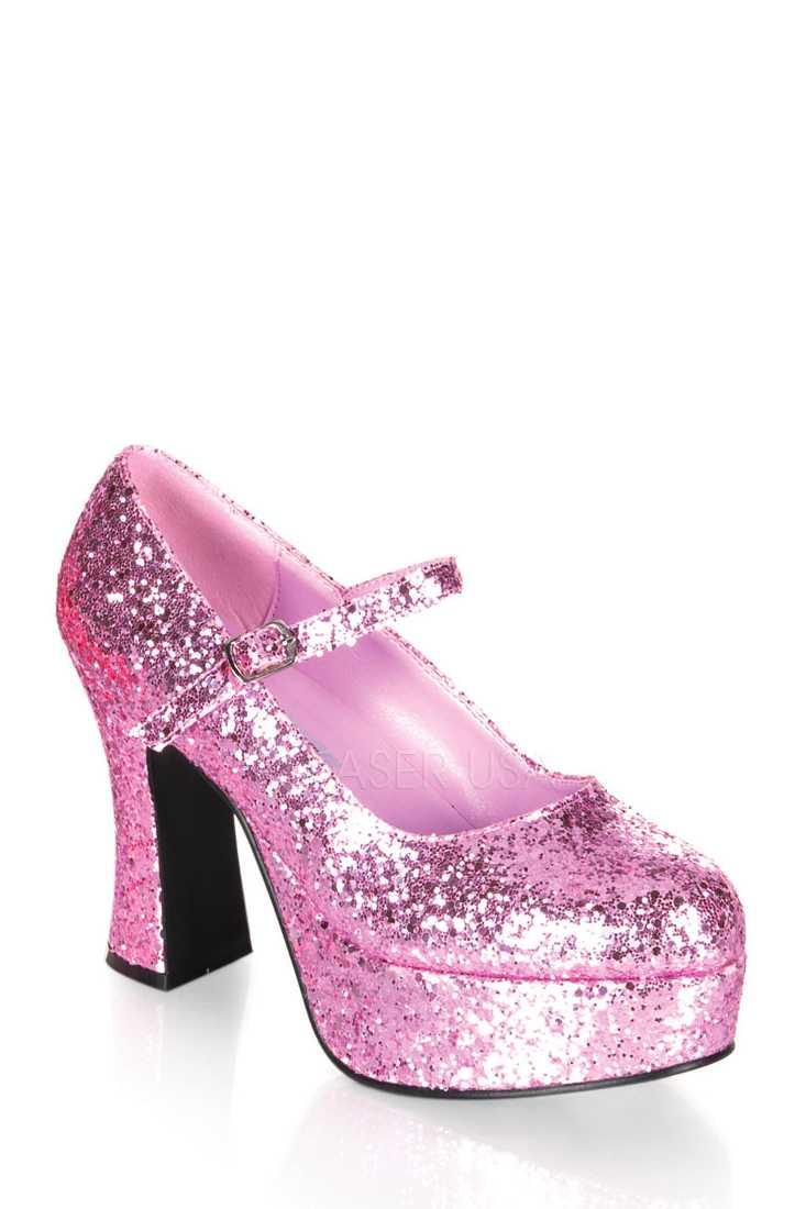 Baby Pink Maryjane Chunky Platform High Heels Glitter