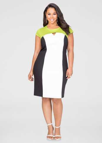 Colorblock Keyhole Sheath Dress