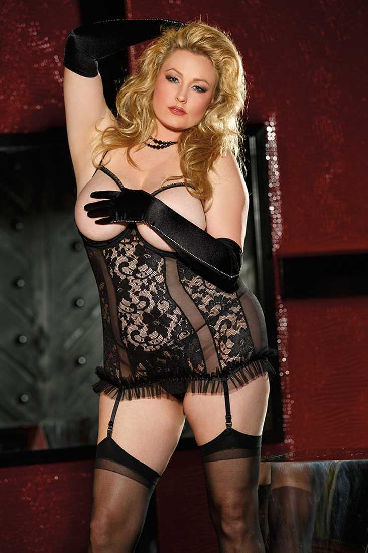 Black Open Bust Lace Strappy Back 3 Piece Plus Size Chemise