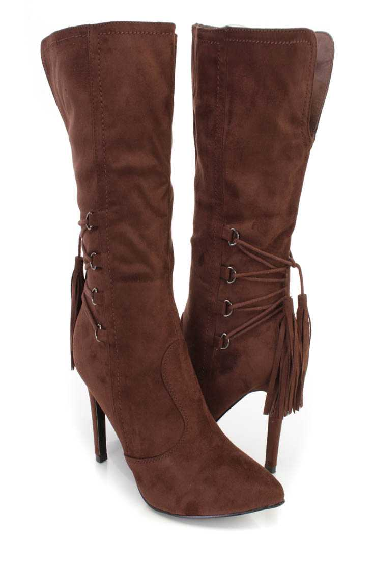 Brown Pointed Toe Single Sole Heel Booties Faux Suede