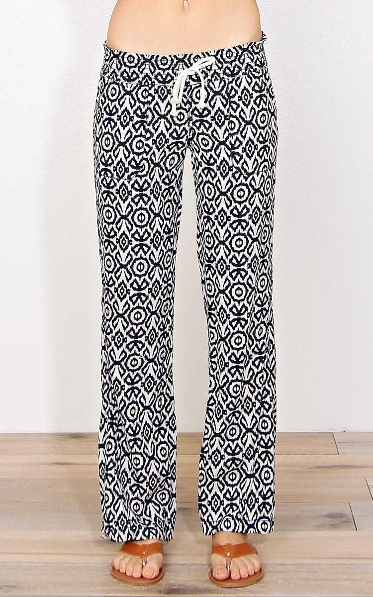 Melanie Ikat Linen Pants - - Ivory Combo in Size by Styles For Less