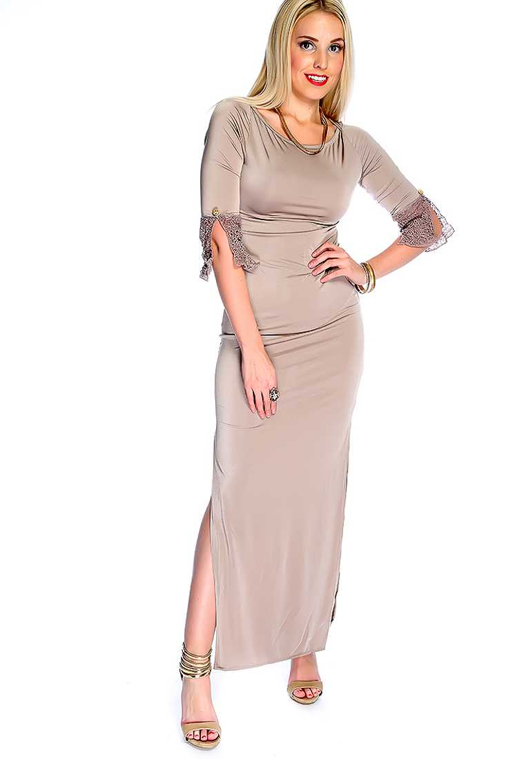 Sexy Taupe Quarter Sleeves Lace Cuff Button Detailing Cut Out Side Slits Maxi Dress