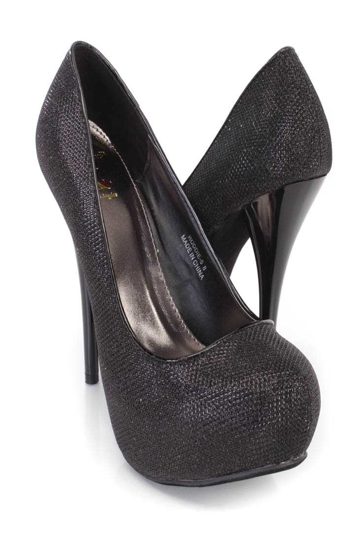 Black Platform Pump High Heels Glitter