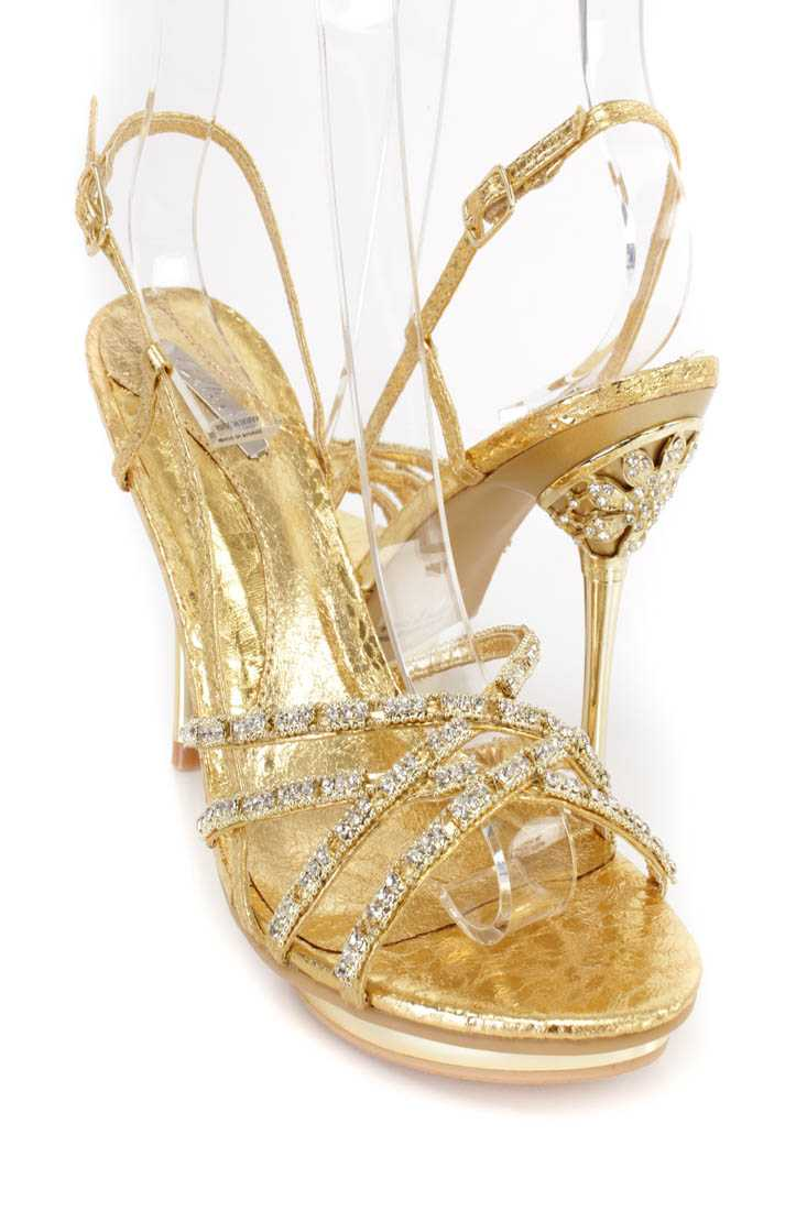Gold Rhinestone Strappy Stiletto Heels Metallic Faux Leather