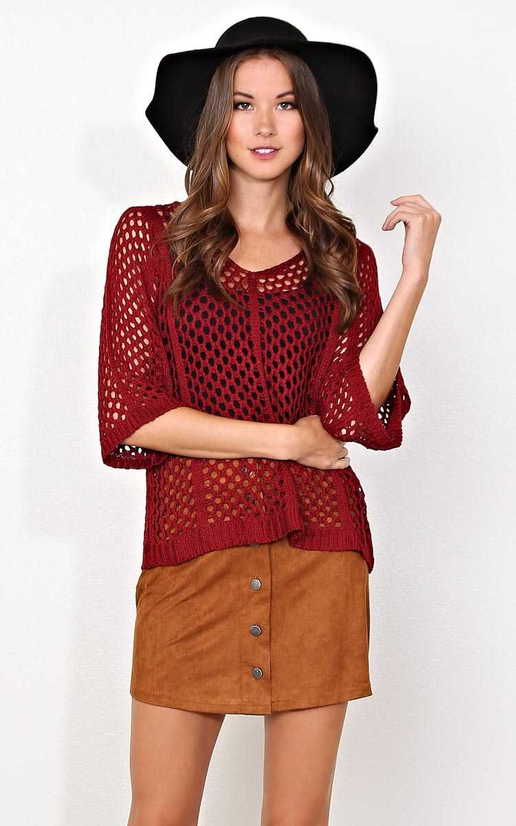 Autumn Ready Sweater Top - Burgundy in Size S/M by Styles For Less