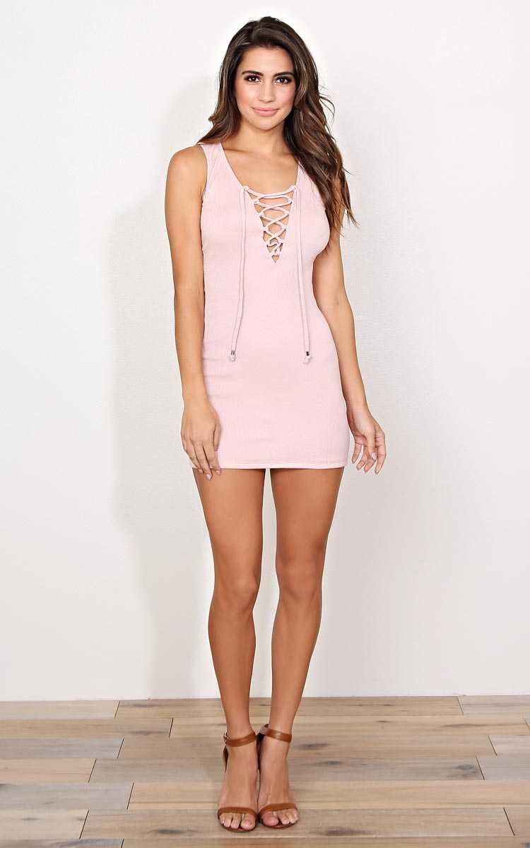 All Tied Up Rib Knit Dress - LGE - Blush in Size Large by Styles For Less
