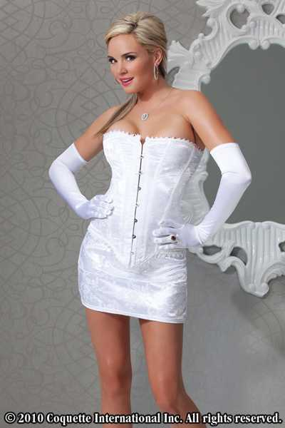 WHITE LACE UP BACK TRIM DETAIL BROCADE INTIMATE CORSET