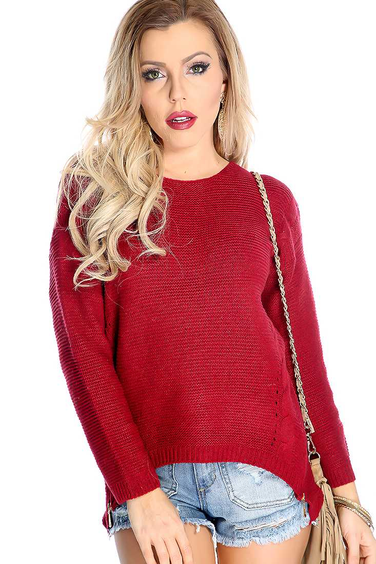 Wine Cable Knitted Double Zipper Trim High Low Sweater Top