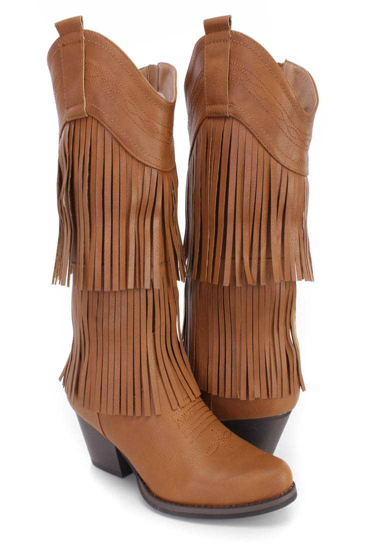 Tan Stitched Fringe Western Boots Faux Leather