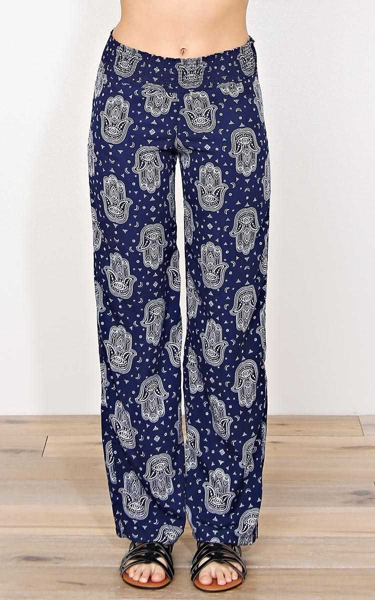 Positive Vibes Woven Palazzo Pants - - Navy Combo in Size by Styles For Less