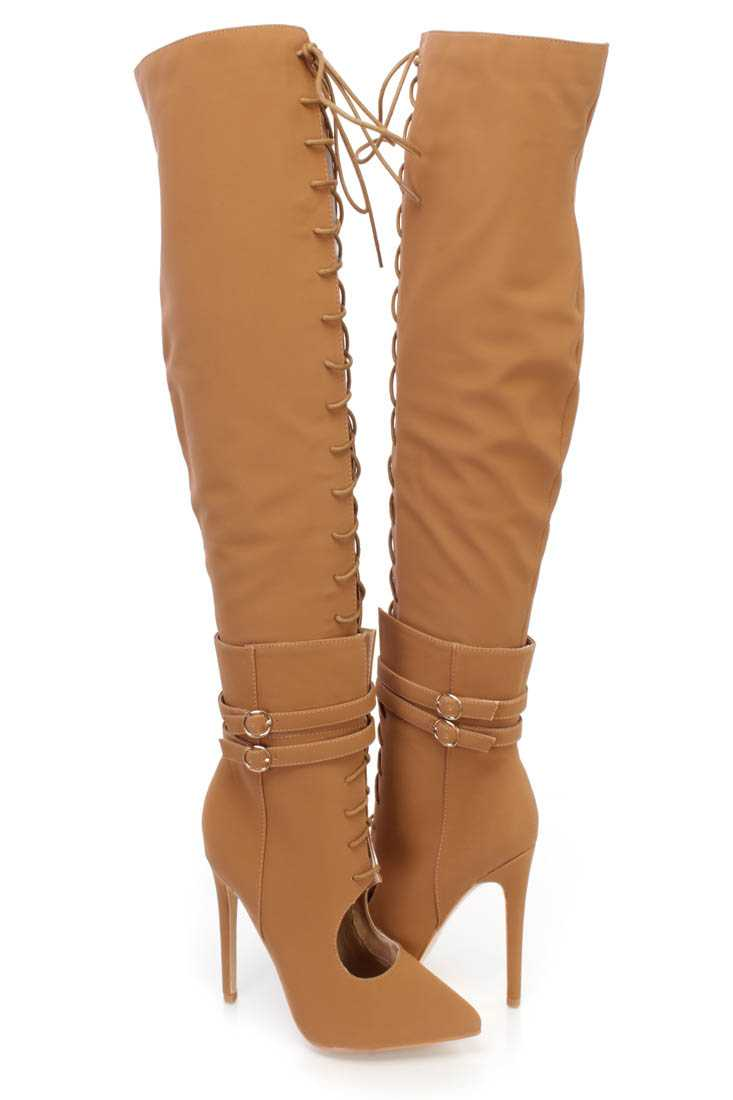 Camel Thigh High Lace Up High Heel Boots Nubuck