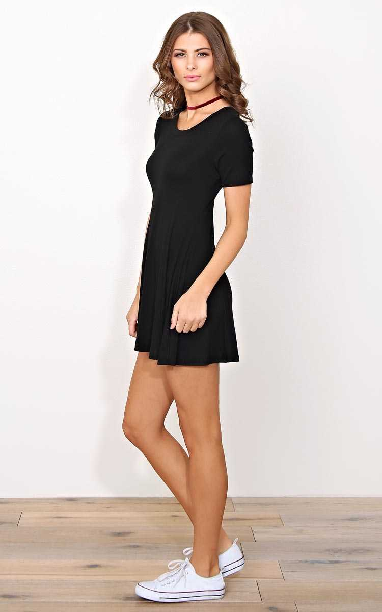 Daphne Rib Knit Skater Dress - LGE - Black in Size Large by Styles For Less