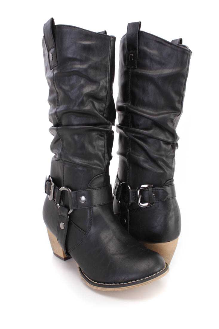 Black Slouchy Pointy Toe Western Style Boots Faux Leather