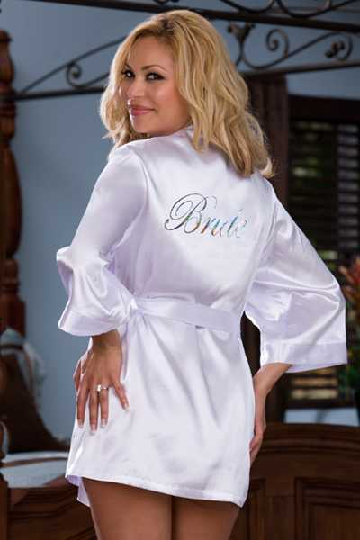 WHITE PLUS SIZE PRINTED BRIDE BACK BRIDAL INTIMATED ROBE SET