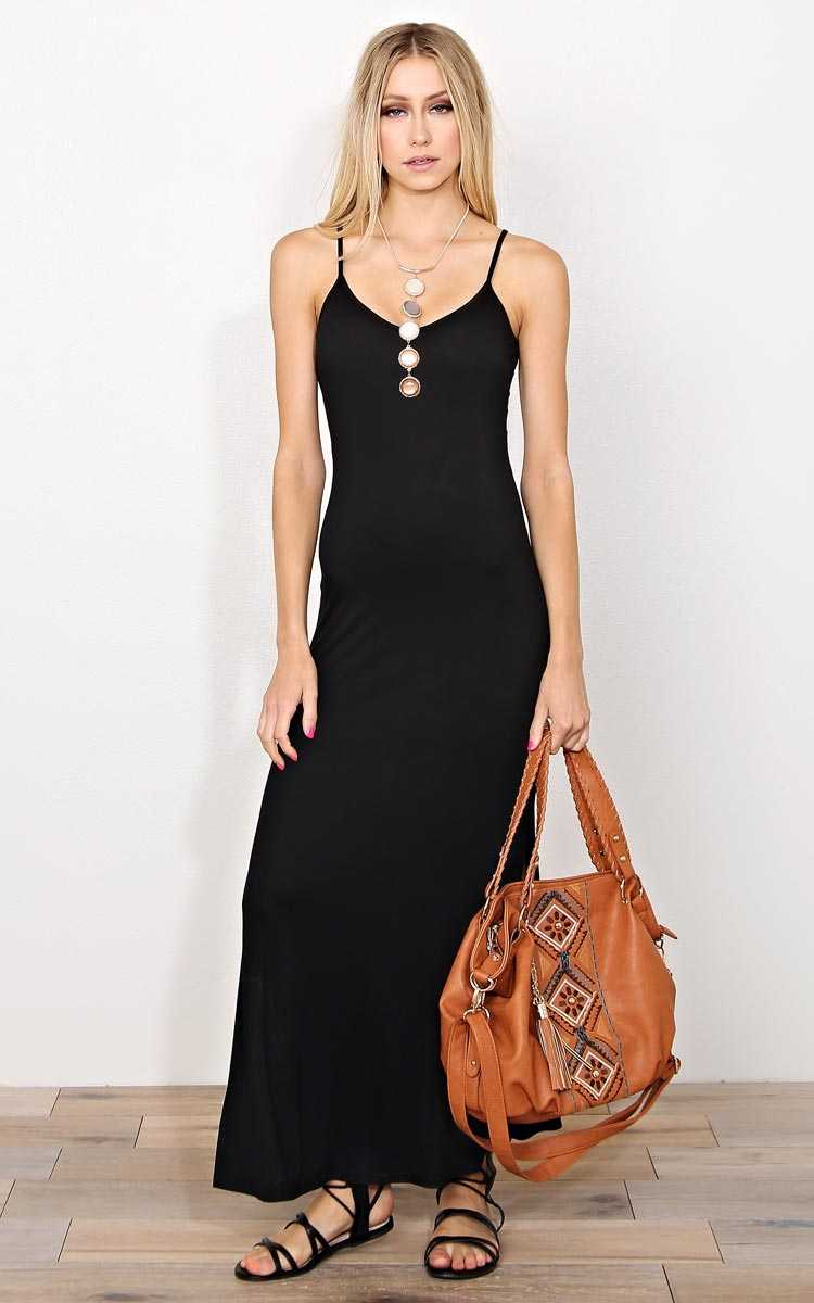 Black Felicity Knit Maxi Dress - - Black in Size by Styles For Less