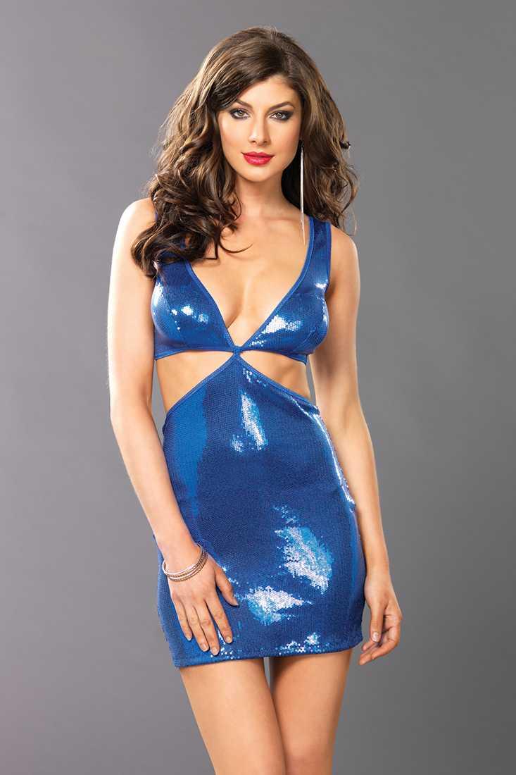 Blue Cut Out Bodice Sequin Mini Dress