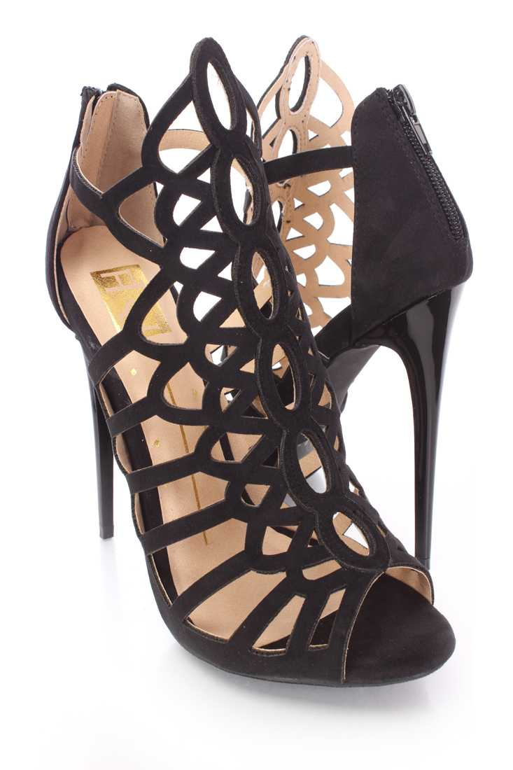 Black Strappy Cut Out Single Sole Booties Nubuck