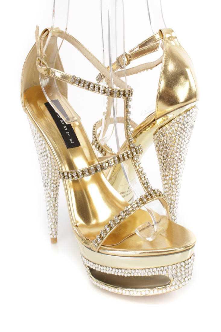 Gold Rhinestone Strappy Platform 6 Inch High Heels Faux Leather