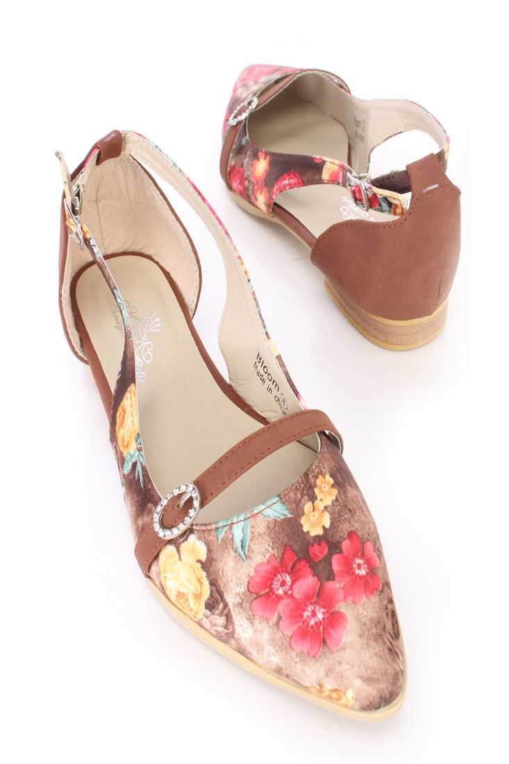 Brown Floral Print Cut Out Flats Fabric