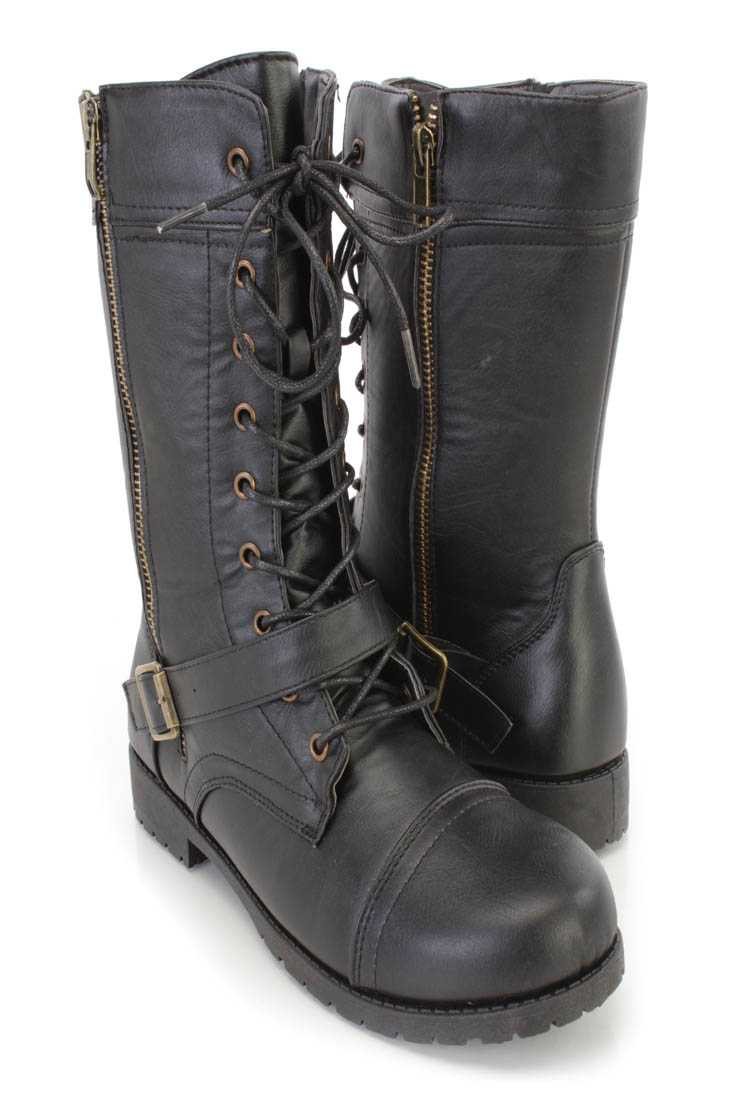 Black Lace Up Strap Combat Boots Faux Leather