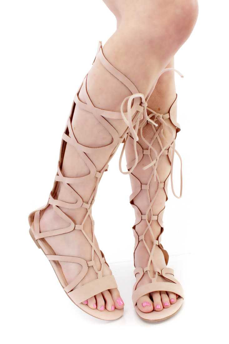 Nude Lace Up Strappy Gladiator Sandals Faux Suede