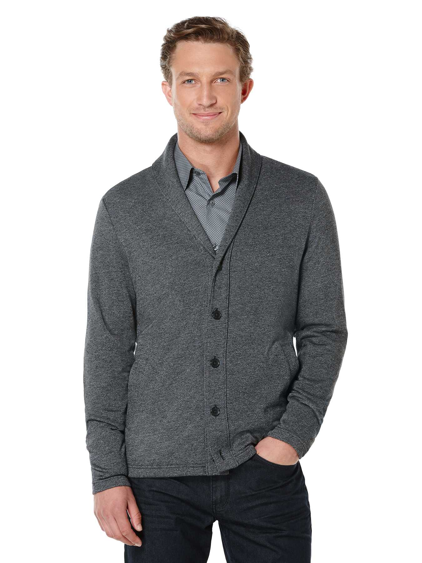 Perry Ellis Long Sleeve Shawl Button Front Cardigan
