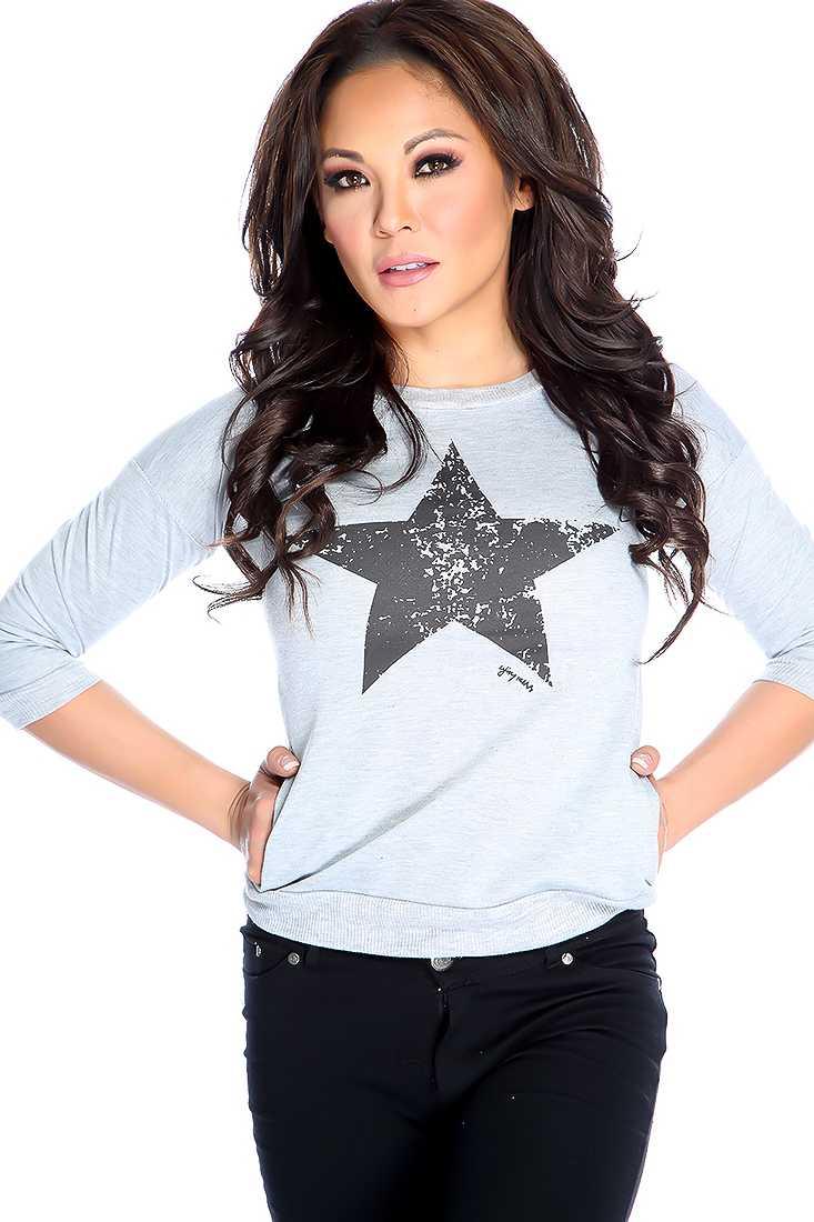 Stylish Grey Star Print Sweater Top